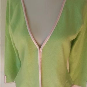 Lilly Pulitzer 100% Cashmere green cardigan m